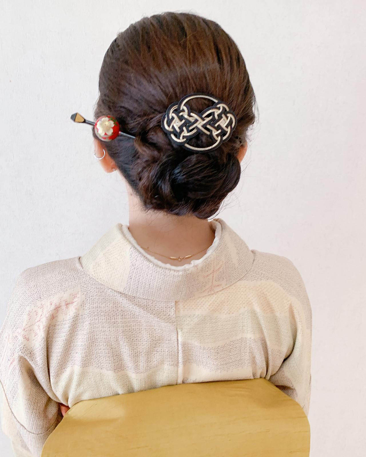 結婚式 訪問着 セミロング 和装ヘア ヘアスタイルや髪型の写真・画像