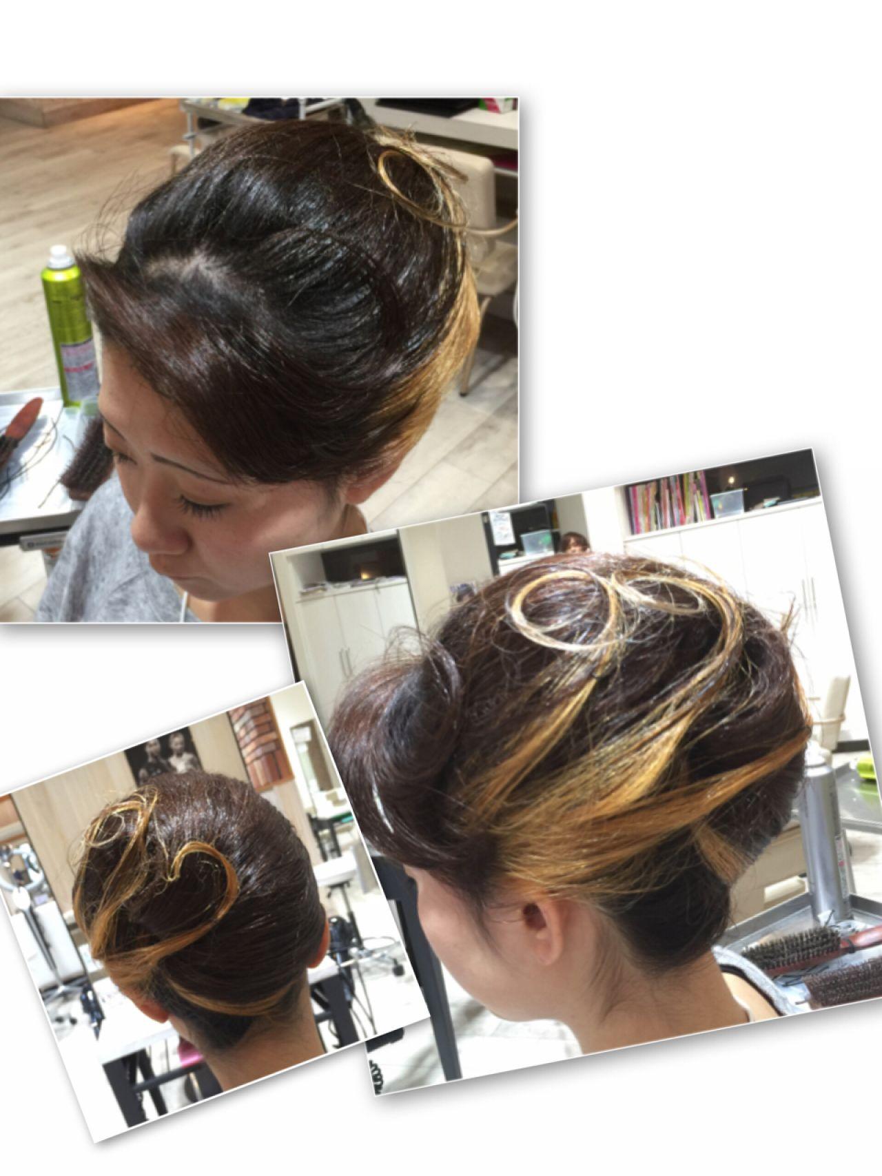 ヘアアレンジ アップスタイル お祭り 夜会巻 ヘアスタイルや髪型の写真・画像