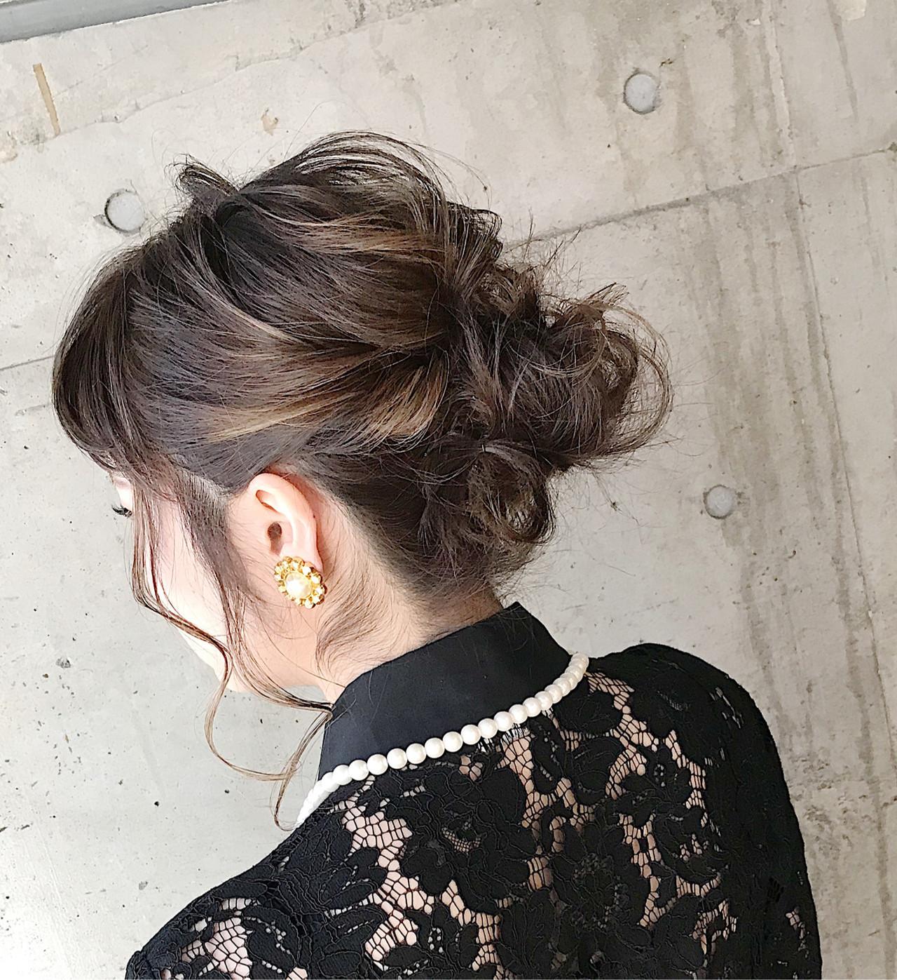 ミディアム ふわふわヘアアレンジ 結婚式ヘアアレンジ ナチュラル ヘアスタイルや髪型の写真・画像 | 内田 一也 / hair/nail space a:le