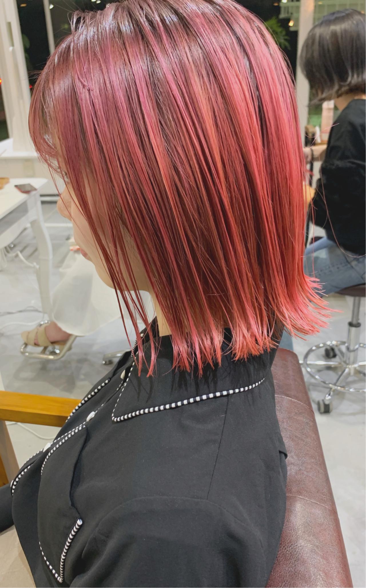 ナチュラル ブリーチ必須 ハイトーンカラー 切りっぱなしボブ ヘアスタイルや髪型の写真・画像