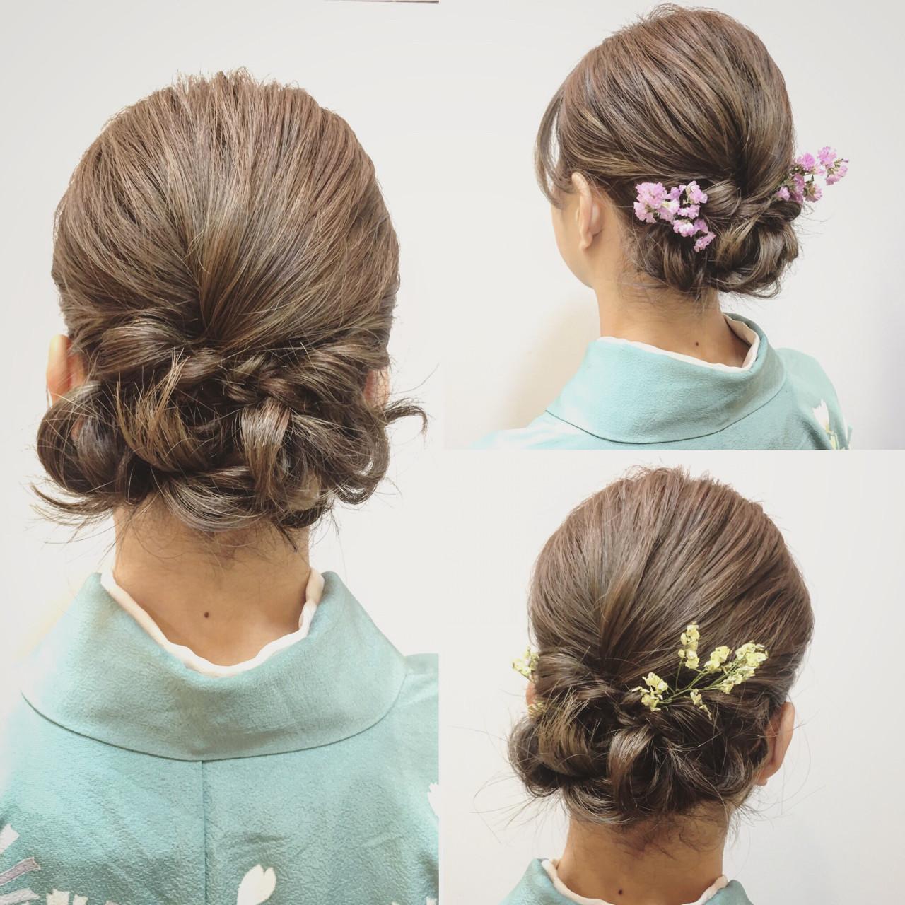 結婚式 ヘアアレンジ 大人かわいい 着物 ヘアスタイルや髪型の写真・画像