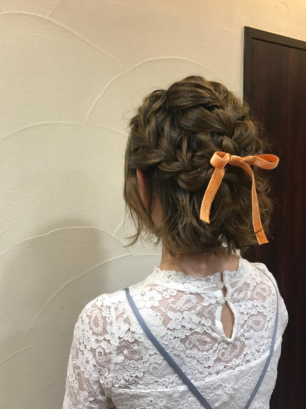 簡単ヘアアレンジ ヘアアレンジ お呼ばれヘア ボブ ヘアスタイルや髪型の写真・画像