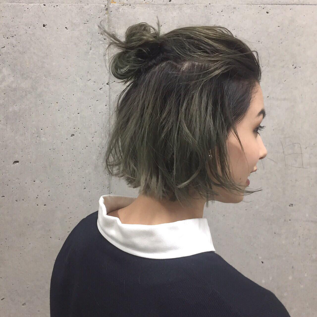 グラデーションカラー 簡単ヘアアレンジ ショート ヘアアレンジ ヘアスタイルや髪型の写真・画像 | 佐々木拓巳 / GARDEN harajuku