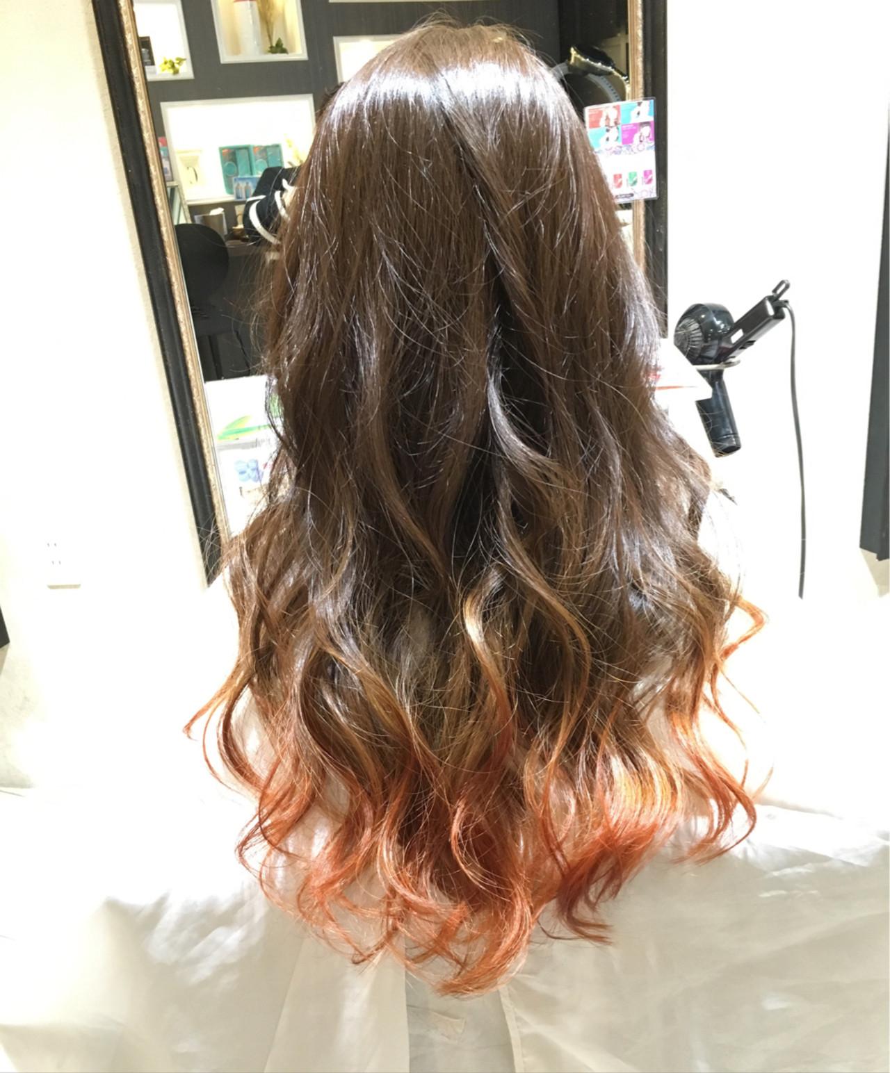 ハイライト アッシュ ロング ピンク ヘアスタイルや髪型の写真・画像