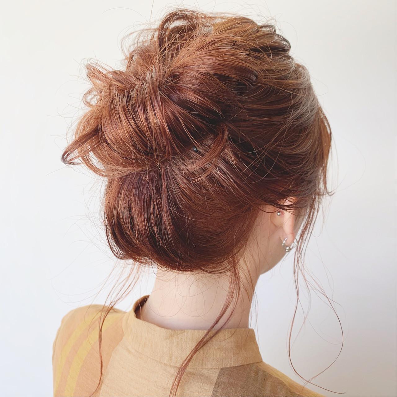 デート オレンジベージュ 簡単ヘアアレンジ 結婚式 ヘアスタイルや髪型の写真・画像