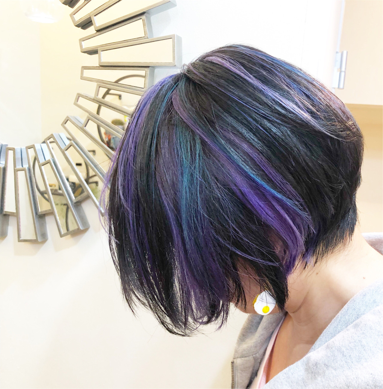 ストリート ユニコーンカラー ボブ インナーカラー ヘアスタイルや髪型の写真・画像