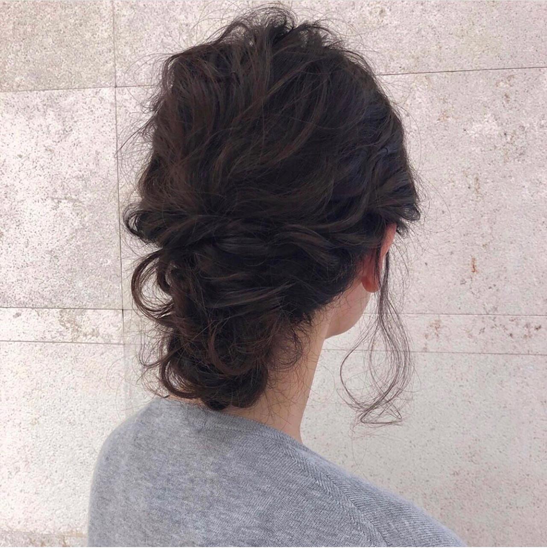 結婚式 フェミニン ミディアム ヘアアレンジ ヘアスタイルや髪型の写真・画像