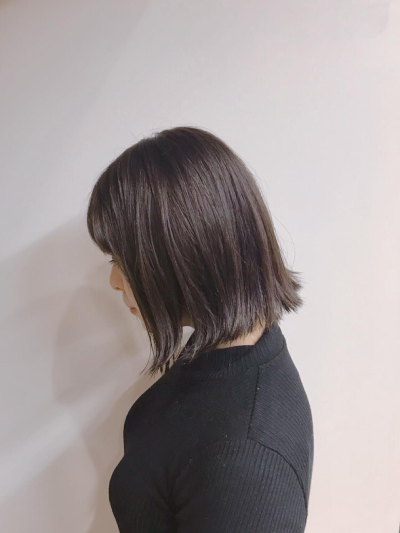 ボブ ふわふわ 切りっぱなし ベージュ ヘアスタイルや髪型の写真・画像   松村卓人 / OWL hair
