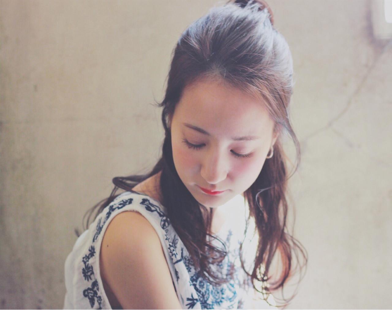 黒髪 簡単ヘアアレンジ セミロング 暗髪 ヘアスタイルや髪型の写真・画像