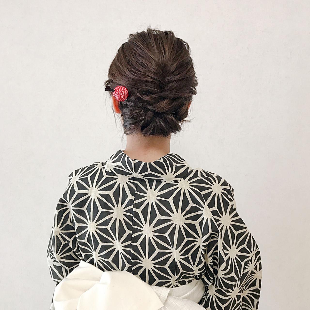 簡単ヘアアレンジ エレガント 結婚式 ミディアム ヘアスタイルや髪型の写真・画像