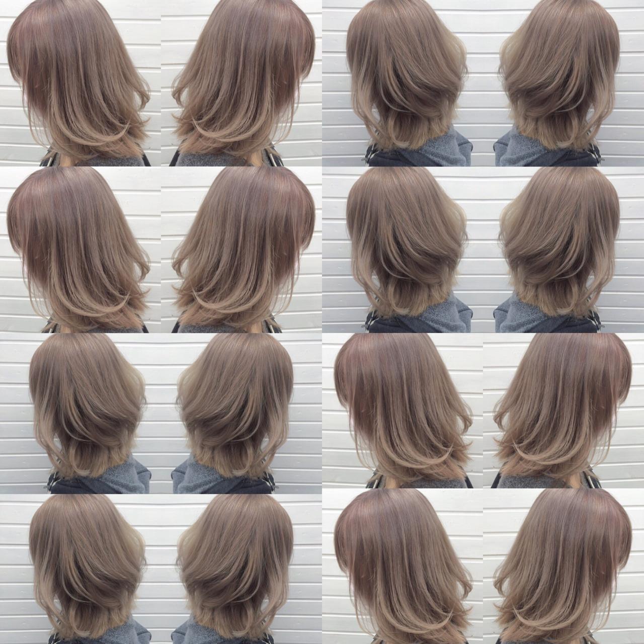 ミディアム ブリーチ パープル ラベンダーアッシュ ヘアスタイルや髪型の写真・画像