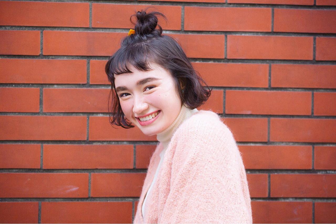 ハーフアップ ボブ ショート 簡単ヘアアレンジ ヘアスタイルや髪型の写真・画像 | joemi 大久保 瞳 / Joemi by Un ami(ジョエミ バイ アンアミ)