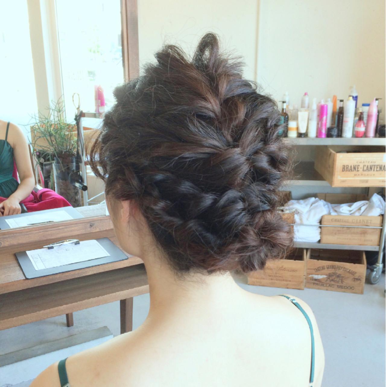 編み込み ゆるふわ ミディアム 結婚式 ヘアスタイルや髪型の写真・画像