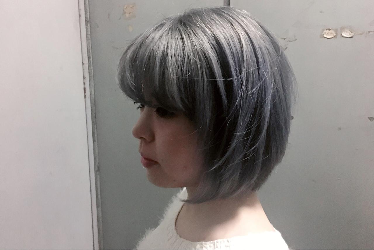ボブ ホワイトアッシュ ベージュ スモーキーカラー ヘアスタイルや髪型の写真・画像 | KEISUKE 【フリーパーソナルカラリスト】 / BellaDolce free-lance