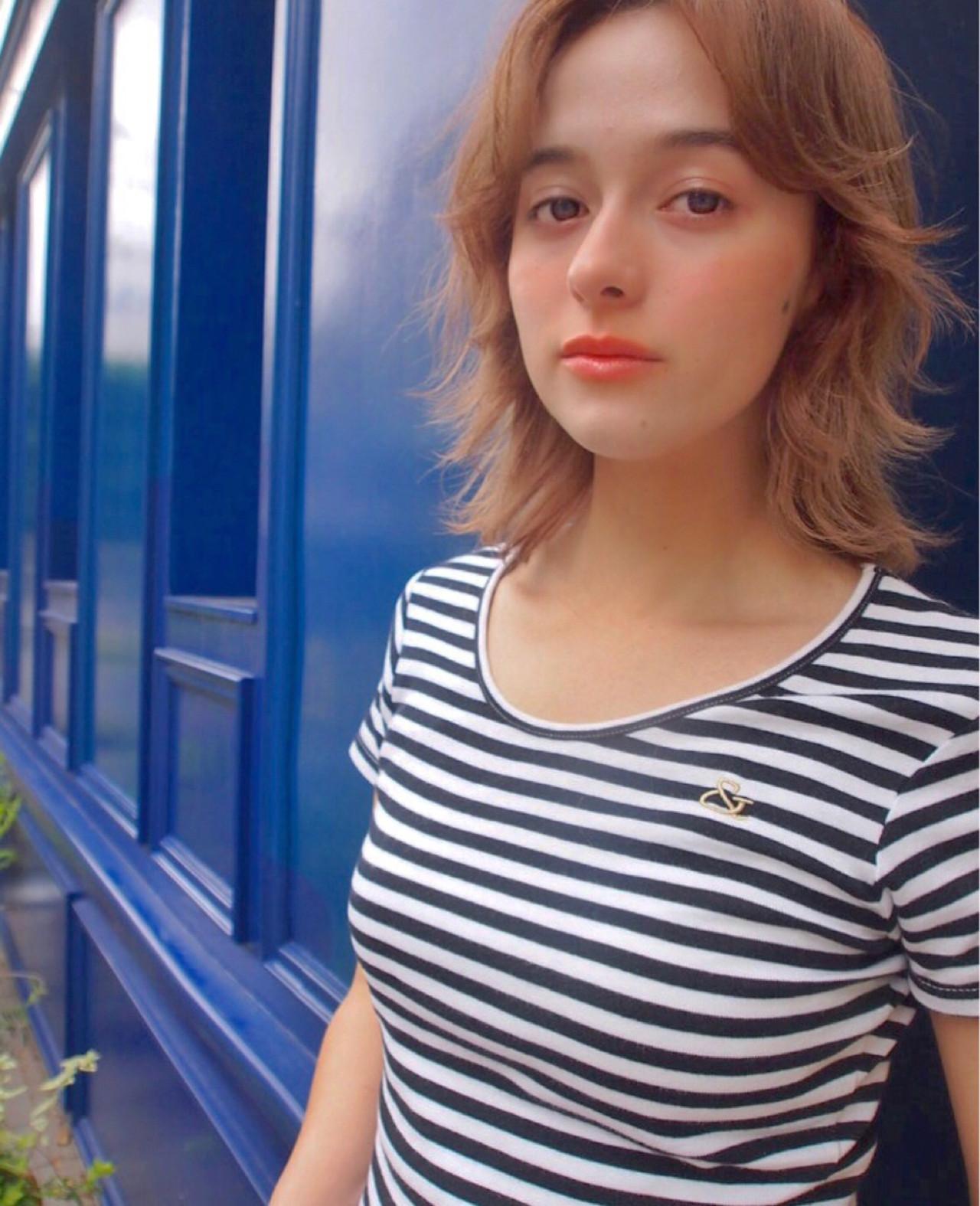 外国人風カラー 透明感 ナチュラル ミディアム ヘアスタイルや髪型の写真・画像