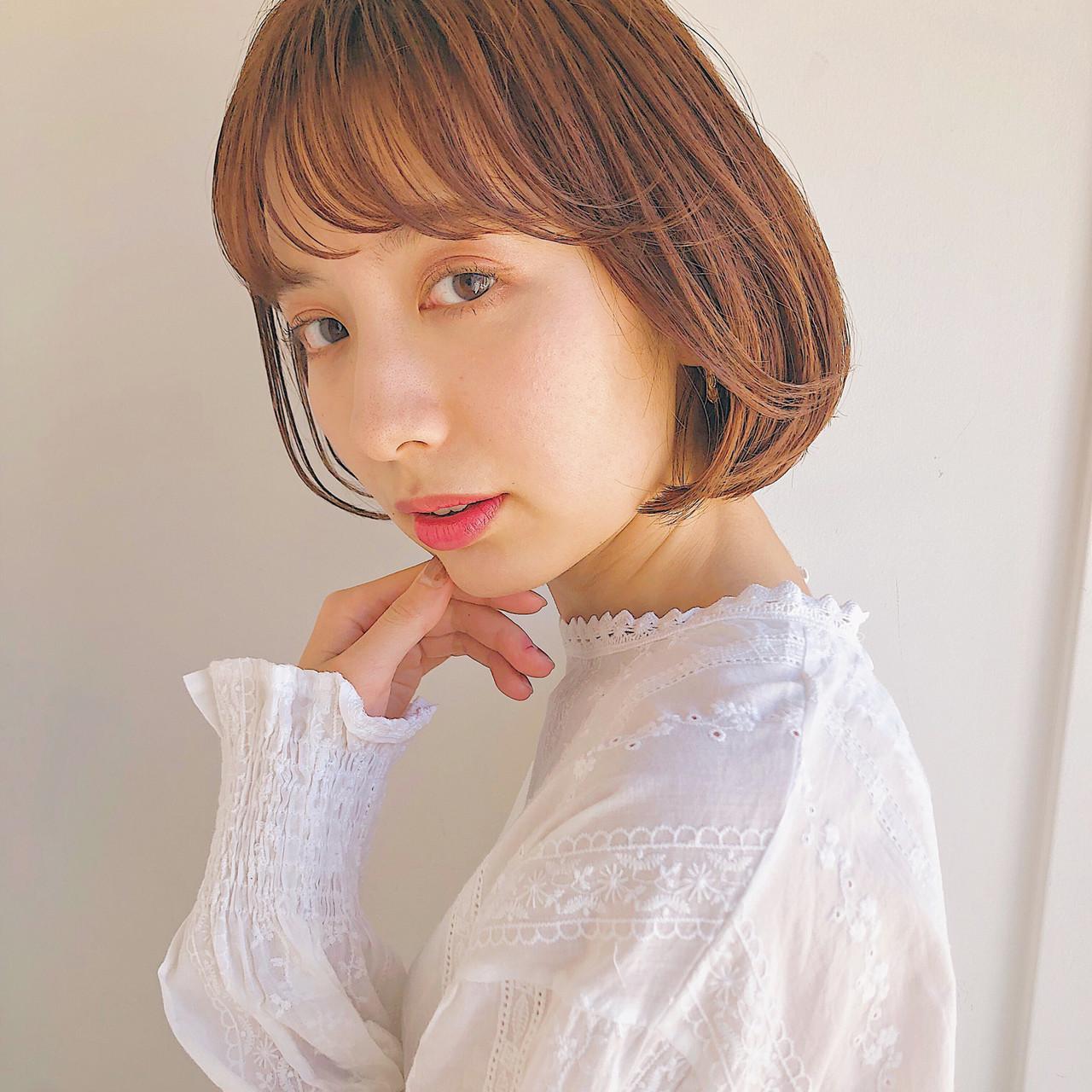 ボブ 韓国ヘア 切りっぱなしボブ ナチュラル ヘアスタイルや髪型の写真・画像