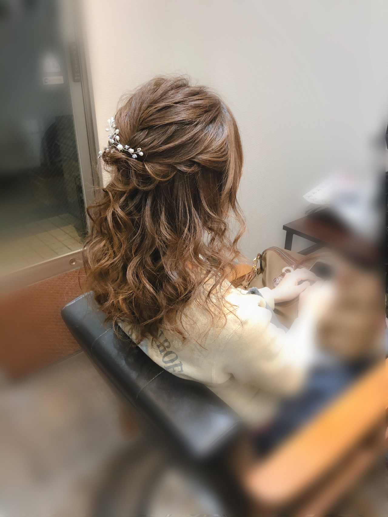 結婚式 ヘアセット フェミニン セミロング ヘアスタイルや髪型の写真・画像 | mai / HAIR SALON STELLA