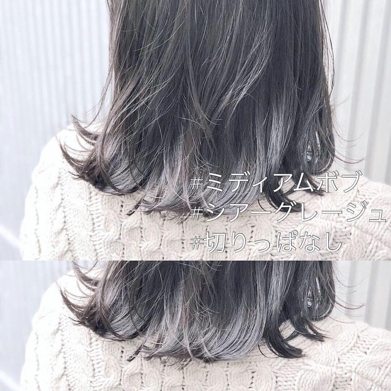 アッシュ アンニュイほつれヘア ミディアム アッシュグレージュ ヘアスタイルや髪型の写真・画像