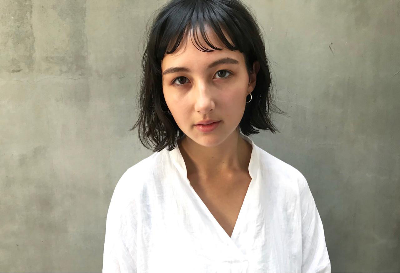 大人女子 切りっぱなし ナチュラル ボブ ヘアスタイルや髪型の写真・画像 | Kazuya / tricca balcony