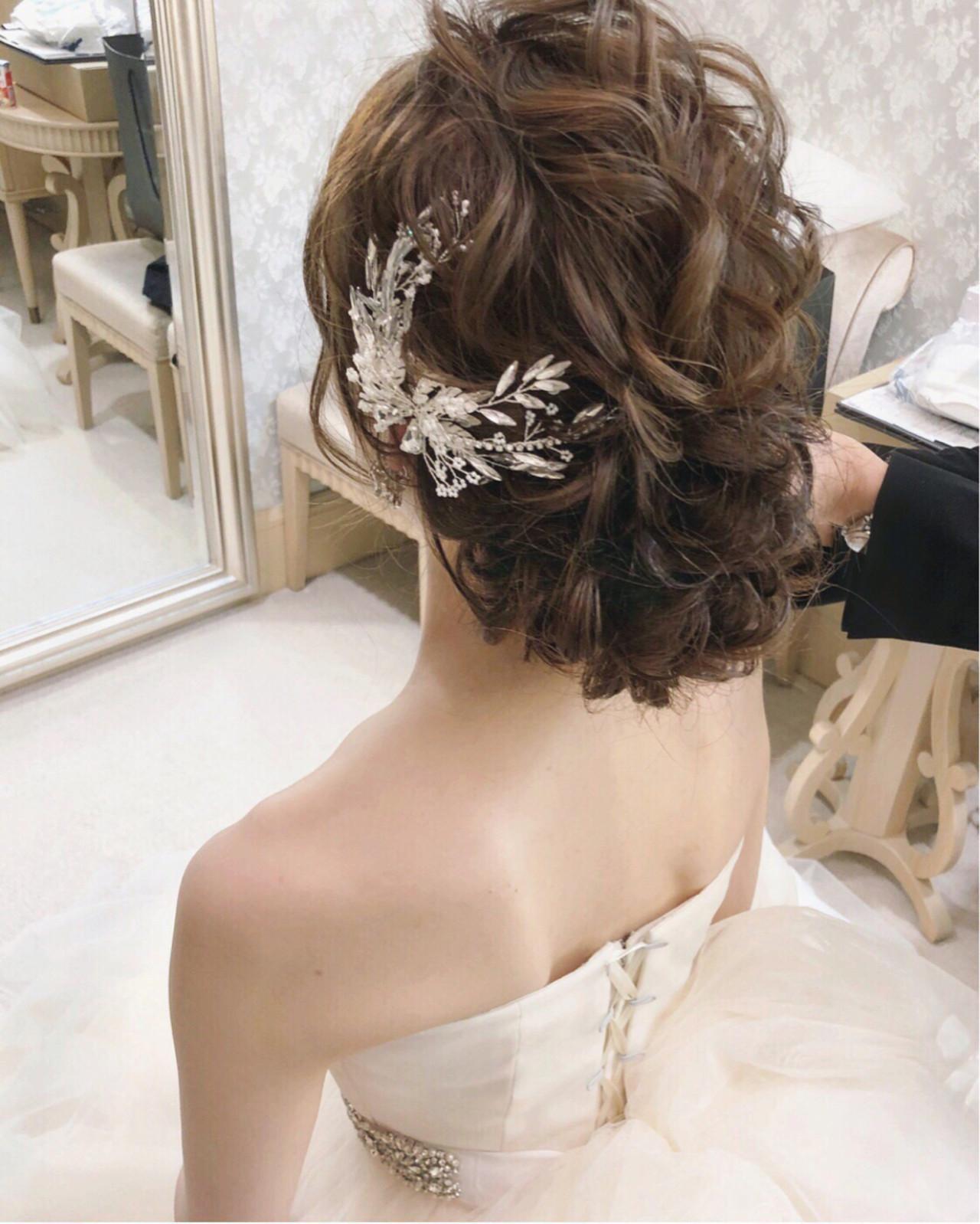 結婚式 大人女子 フェミニン セミロング ヘアスタイルや髪型の写真・画像