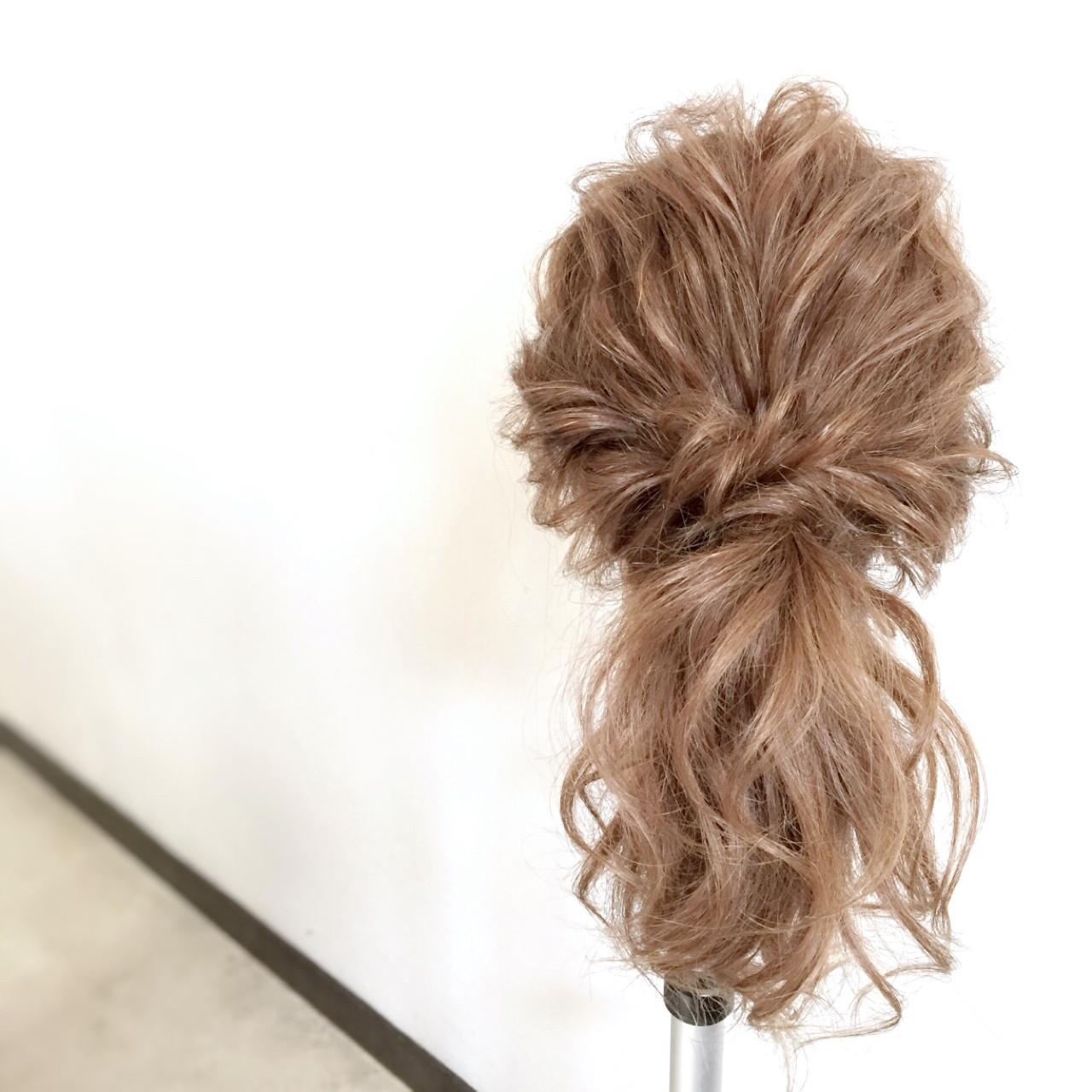 ポニーテール 簡単ヘアアレンジ ショート ゆるふわ ヘアスタイルや髪型の写真・画像