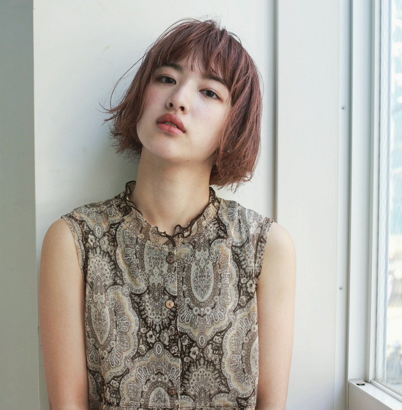 ピンクベージュ ピンク アッシュ ボブ ヘアスタイルや髪型の写真・画像 | Yukie Horiuchi / スパイスアヴェダ