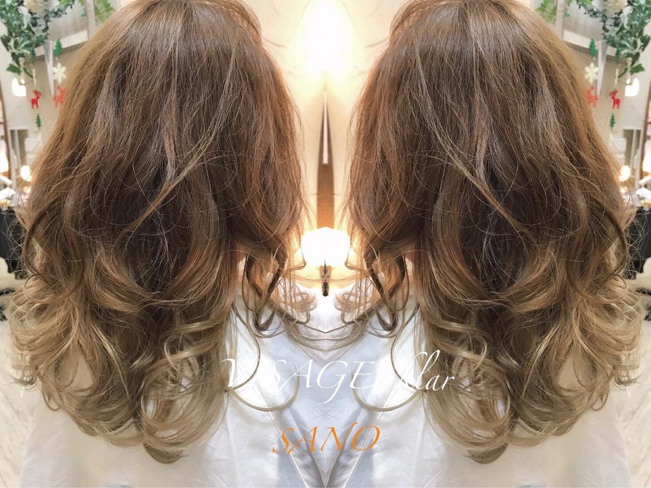 ハイライト アッシュ 外国人風カラー ロング ヘアスタイルや髪型の写真・画像   Sano Kazunao / VISAGE klar
