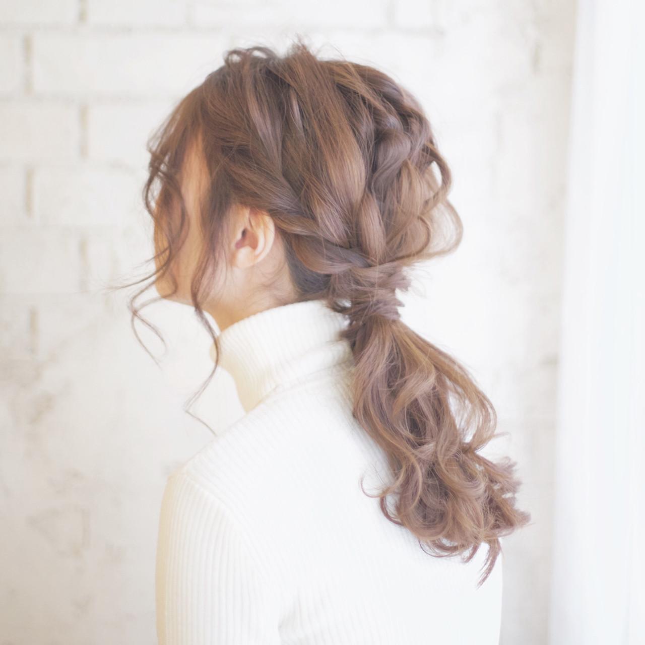 ポニーテール ゆるふわ 大人かわいい ショート ヘアスタイルや髪型の写真・画像