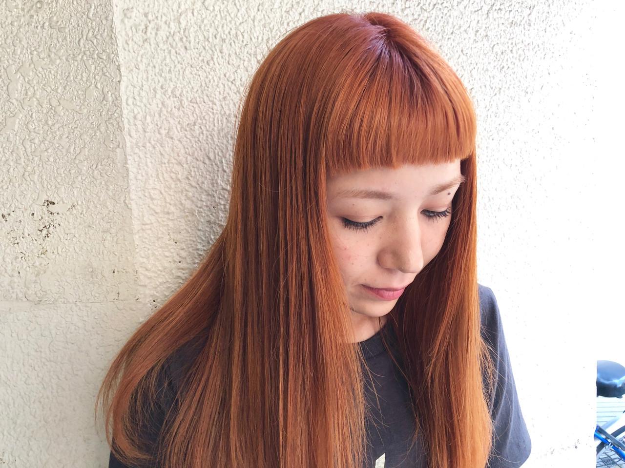 オレンジ アプリコットオレンジ ダブルカラー オレンジカラー ヘアスタイルや髪型の写真・画像 | ハマノシオリ / ROVERSI