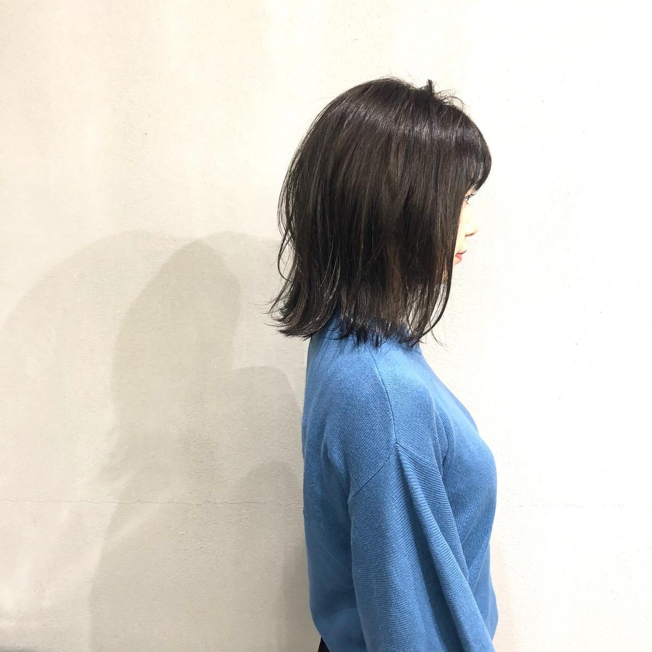 切りっぱなしボブ ボブ 簡単スタイリング イルミナカラー ヘアスタイルや髪型の写真・画像