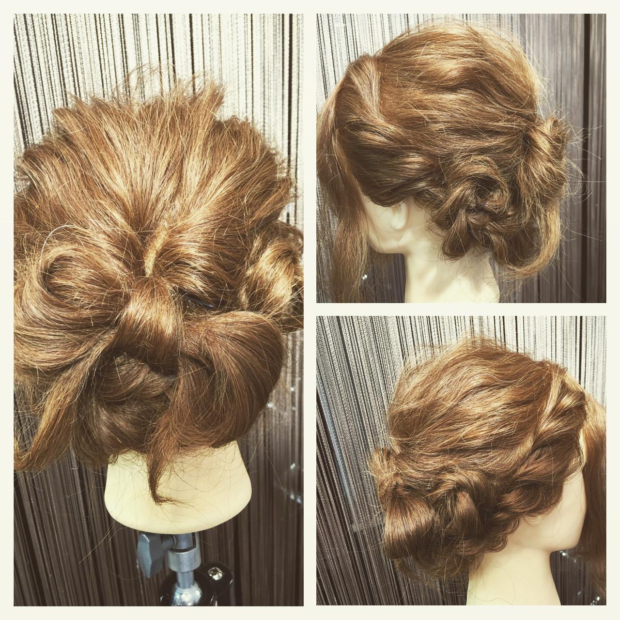 ヘアアレンジ 波ウェーブ 結婚式 ロープ編み ヘアスタイルや髪型の写真・画像