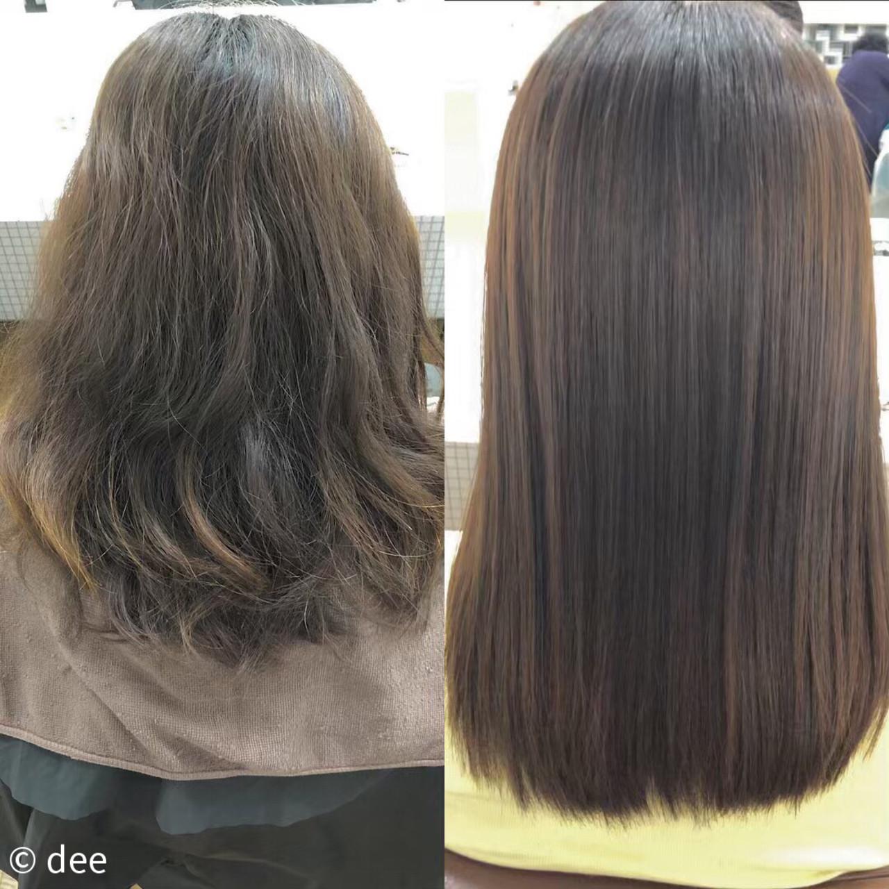 縮毛矯正 縮毛矯正ストカール ナチュラル可愛い セミロング ヘアスタイルや髪型の写真・画像