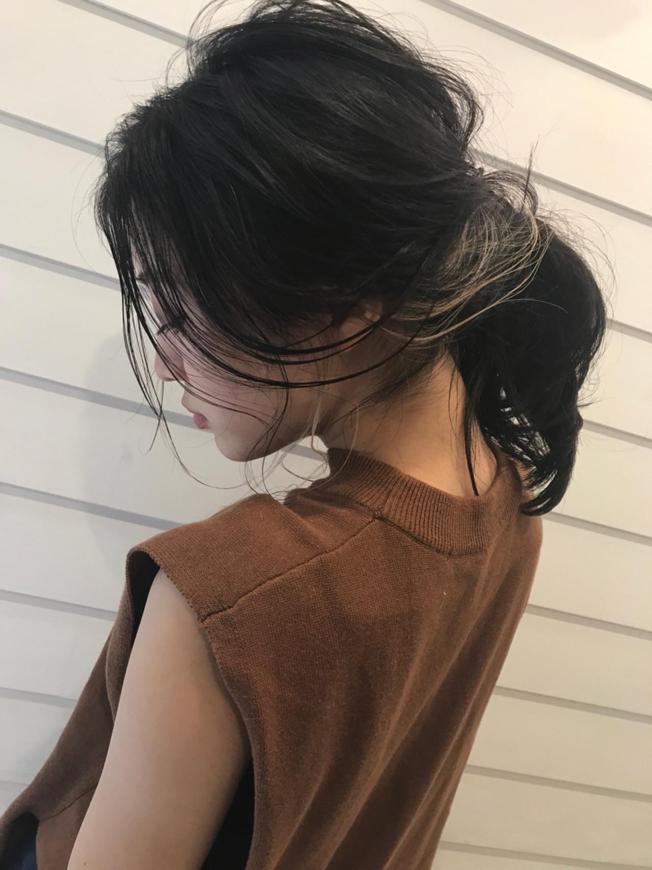 ヘアアレンジ 黒髪 セミロング 簡単ヘアアレンジ ヘアスタイルや髪型の写真・画像 | Nakamura Gota / noah  parfait 銀座