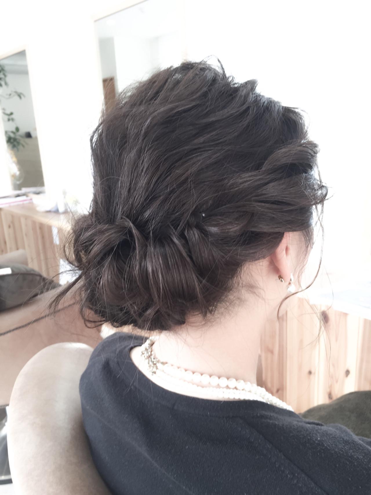 ミディアム 編み込み パーティ ヘアアレンジ ヘアスタイルや髪型の写真・画像
