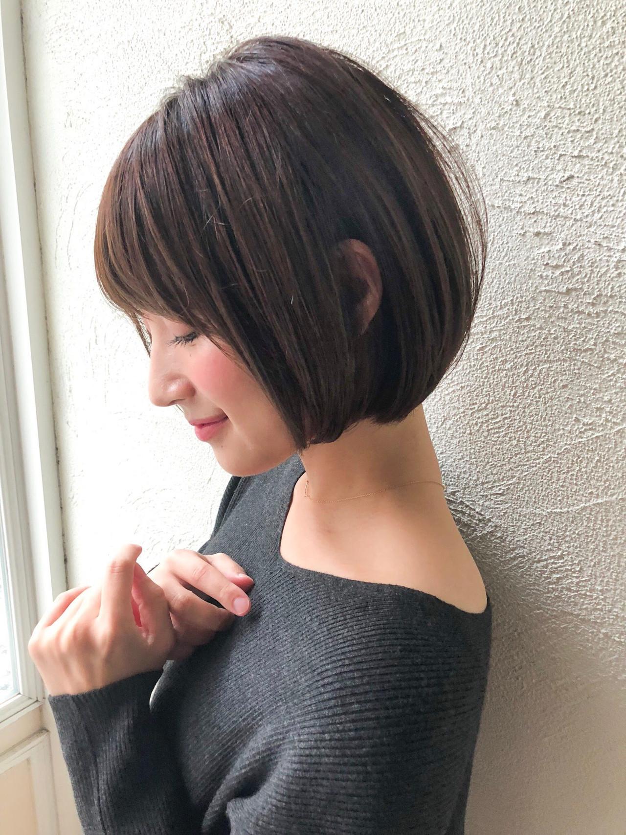 ナチュラル 透明感カラー デート ショートボブ ヘアスタイルや髪型の写真・画像