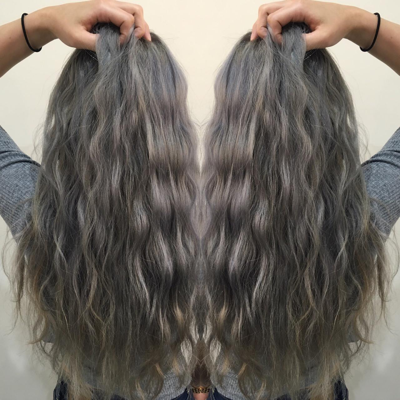 ロング ストリート グラデーションカラー アッシュ ヘアスタイルや髪型の写真・画像