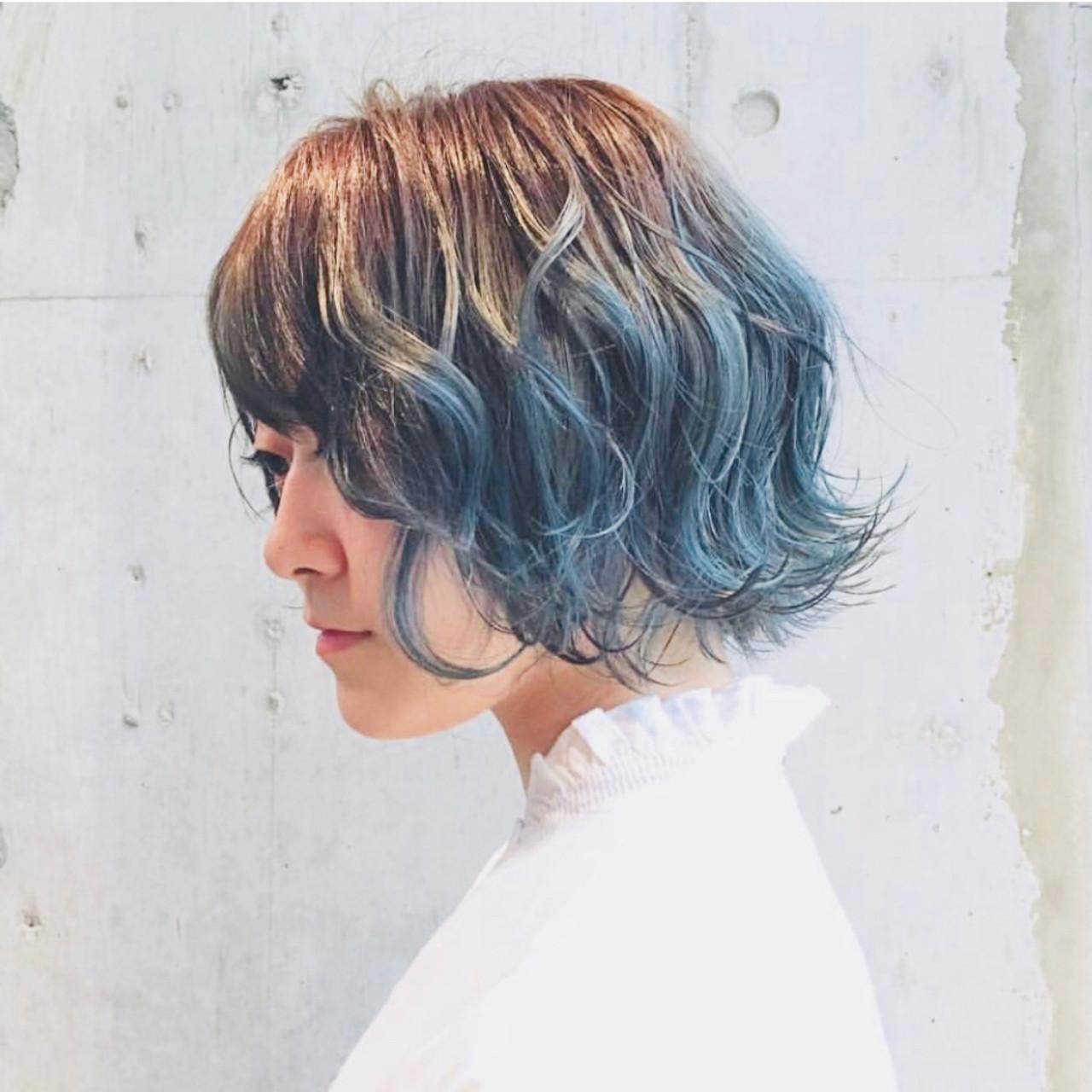 切りっぱなしボブ ボブ グラデーションカラー 外国人風カラー ヘアスタイルや髪型の写真・画像 | haruca shiono / imaii scaena×colore
