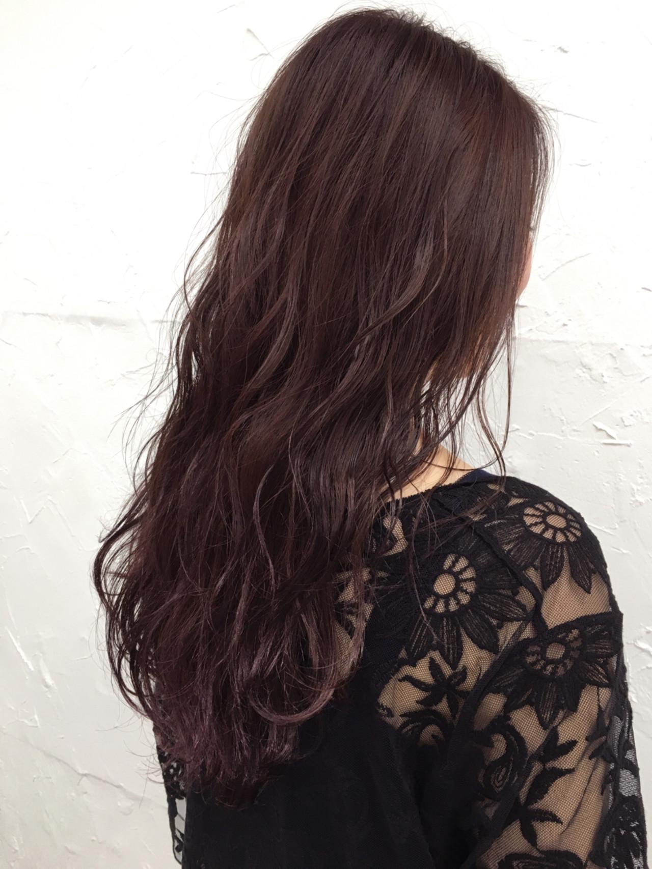 ピンク セミロング 暗髪 パープル ヘアスタイルや髪型の写真・画像 | 田中晋也 / prize(プライズ)表参道店