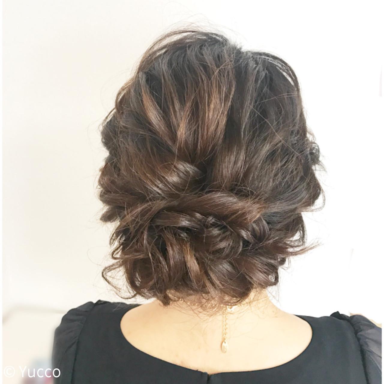 結婚式 ヘアアレンジ ミディアム デート ヘアスタイルや髪型の写真・画像 | Yucco / ヘアメイク専門店 BeautySalonnagomi 立川店