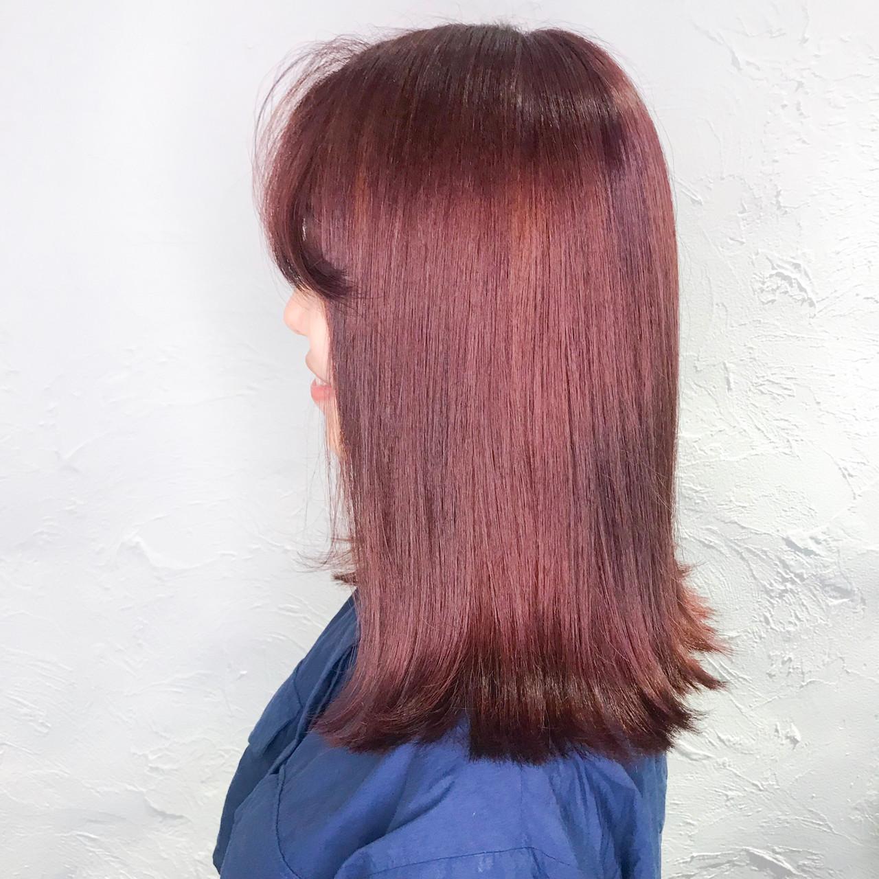 ラベンダーピンク ピンクパープル ピンクブラウン ガーリー ヘアスタイルや髪型の写真・画像