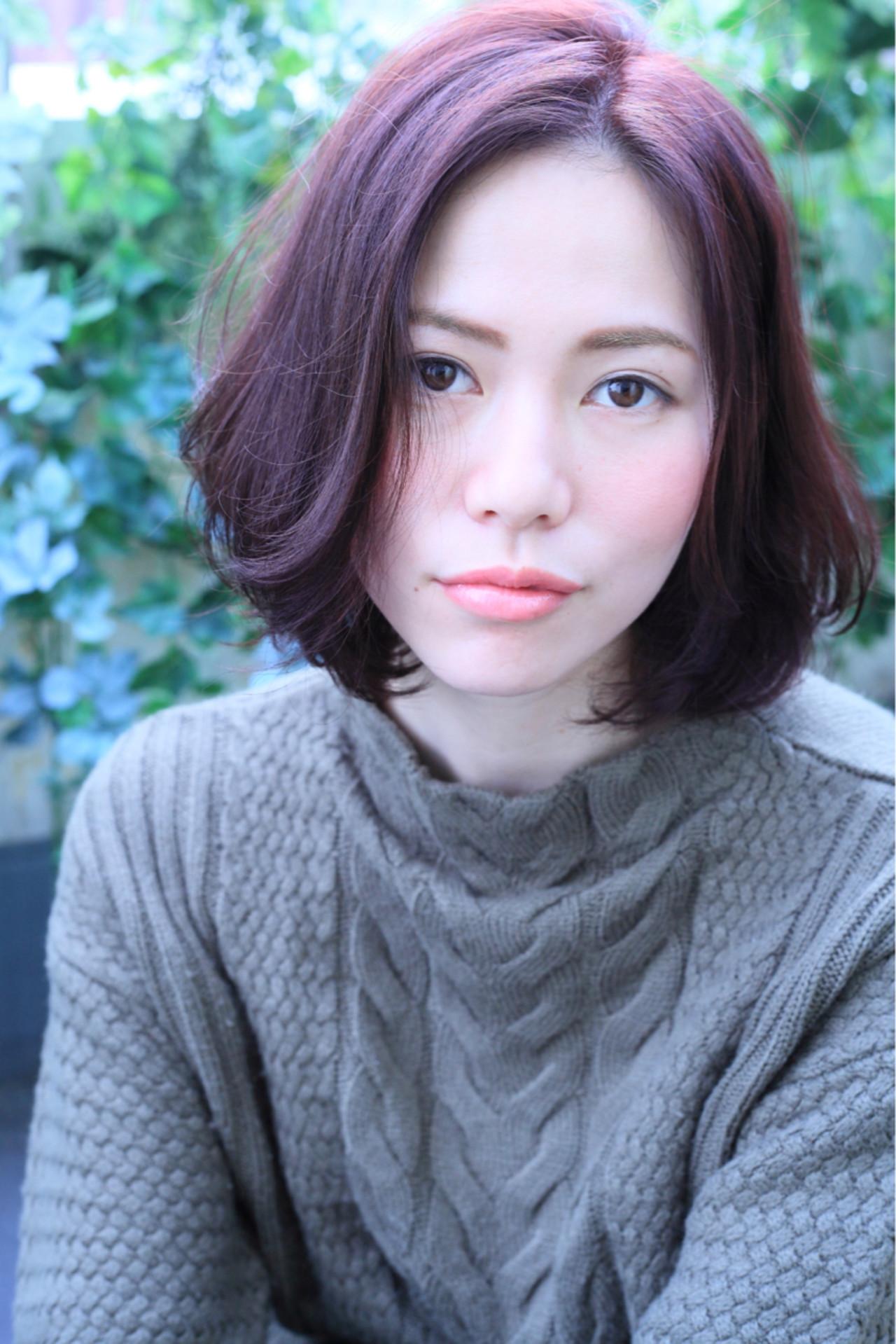 大人かわいい ミディアム ボブ 小顔 ヘアスタイルや髪型の写真・画像   kentaman® / PEACE HAKATA