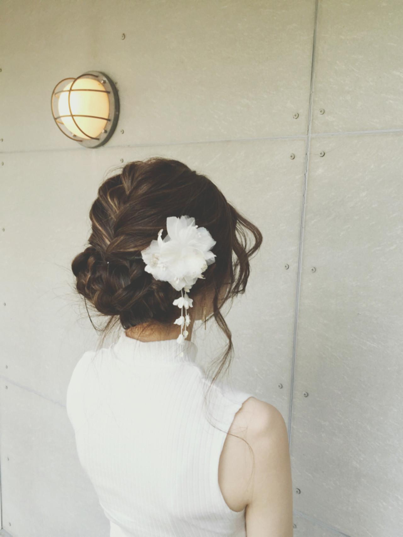 編み込み 和装 アップスタイル ロング ヘアスタイルや髪型の写真・画像