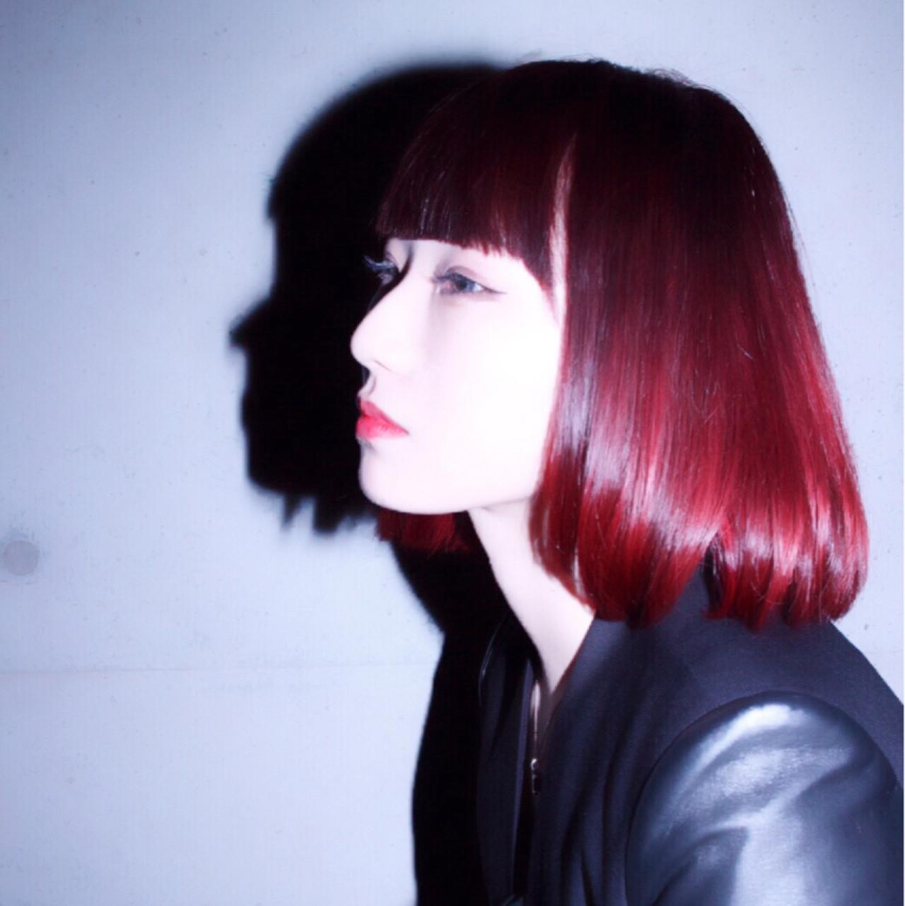 暗髪 モード ピンク 色気 ヘアスタイルや髪型の写真・画像 | ruka /