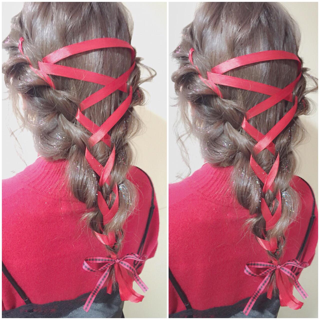 ゆるふわ ハーフアップ フェミニン セミロング ヘアスタイルや髪型の写真・画像