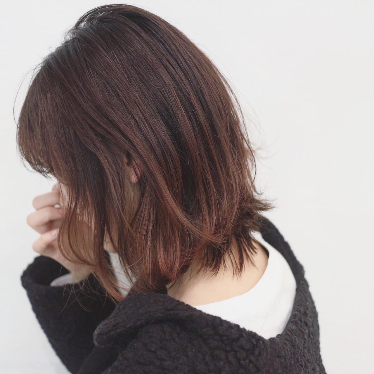 グラデーションカラー ボブ デート アウトドア ヘアスタイルや髪型の写真・画像
