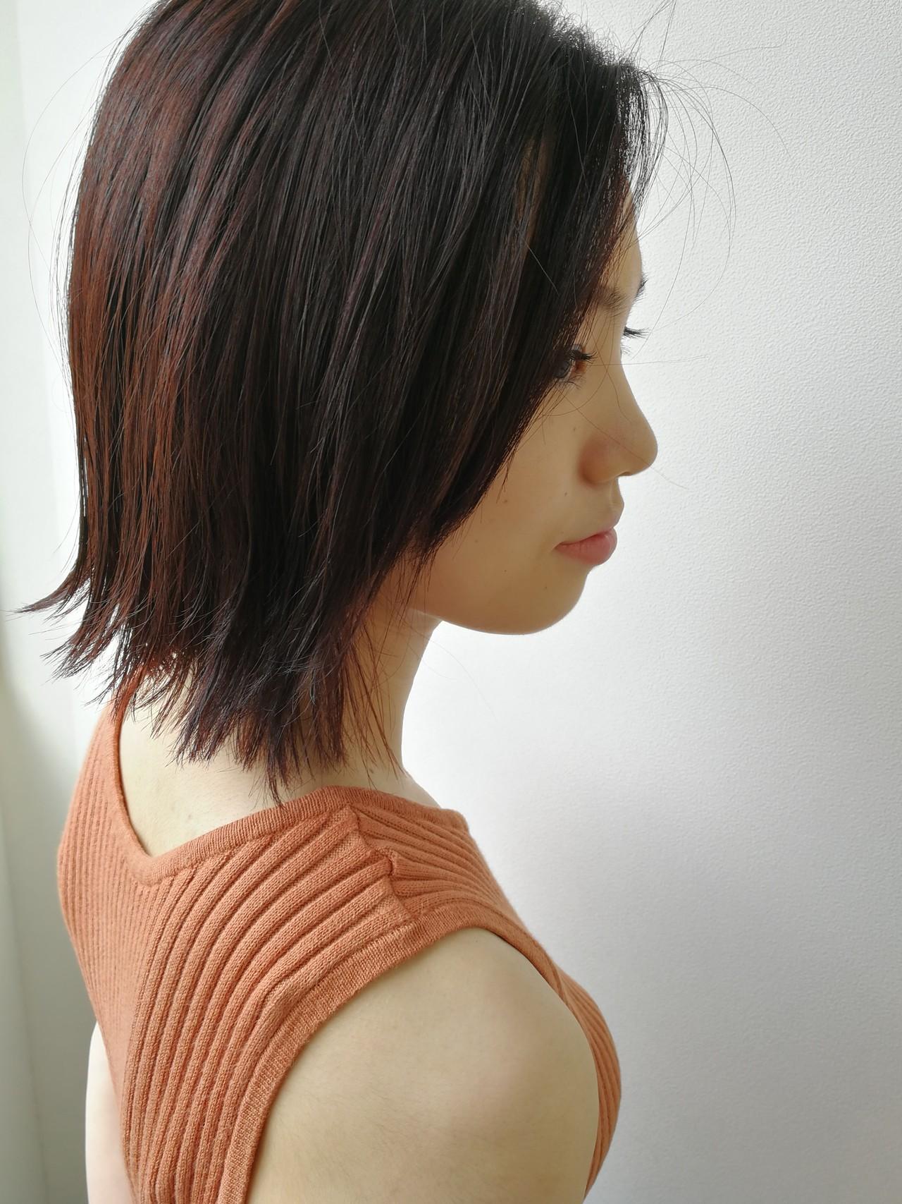 ボブ ストレート レイヤーカット ナチュラル ヘアスタイルや髪型の写真・画像