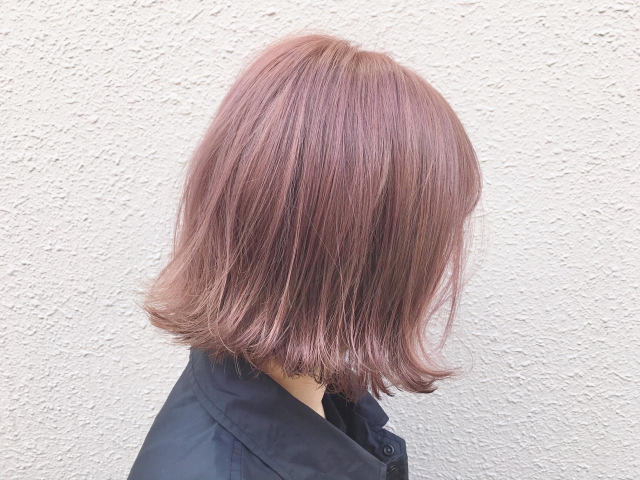 ボブ ピンク ピンクアッシュ 外国人風カラー ヘアスタイルや髪型の写真・画像