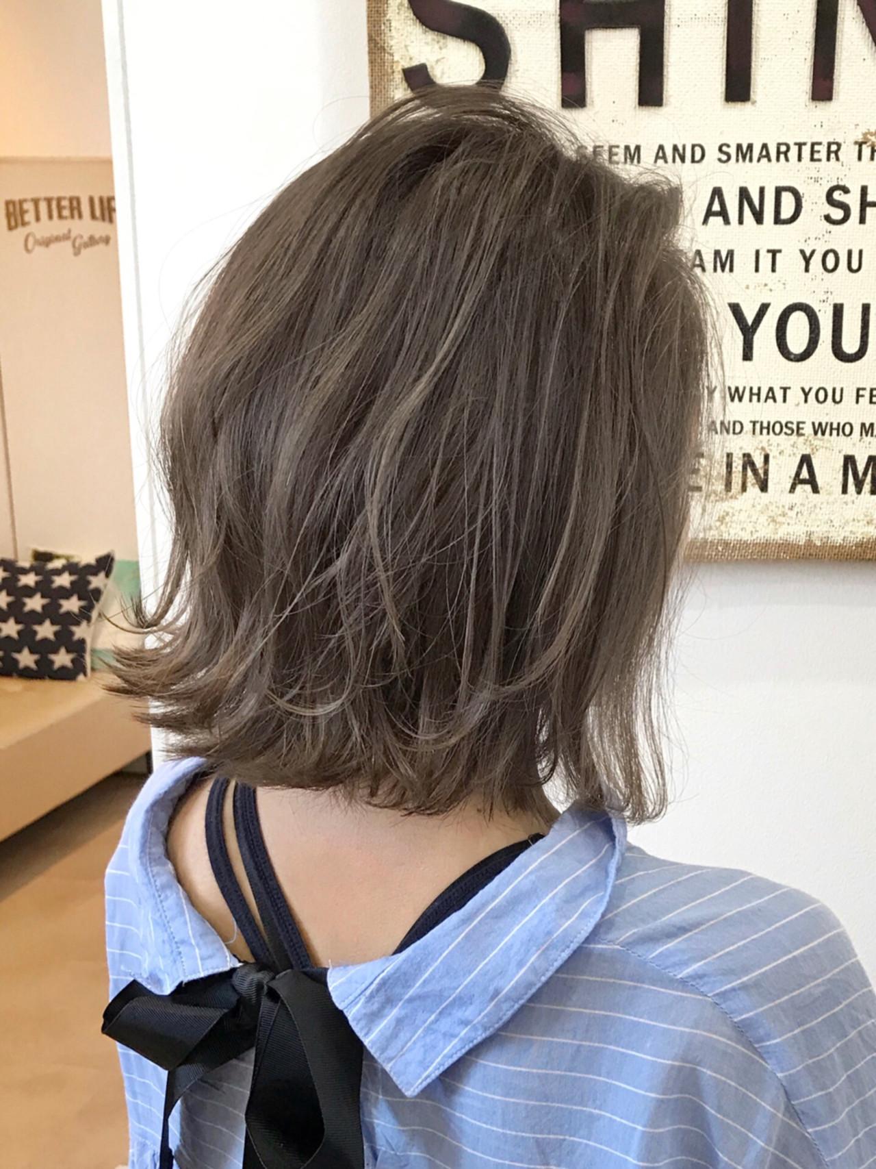 ヘアアレンジ 外ハネ 切りっぱなし ハイライト ヘアスタイルや髪型の写真・画像