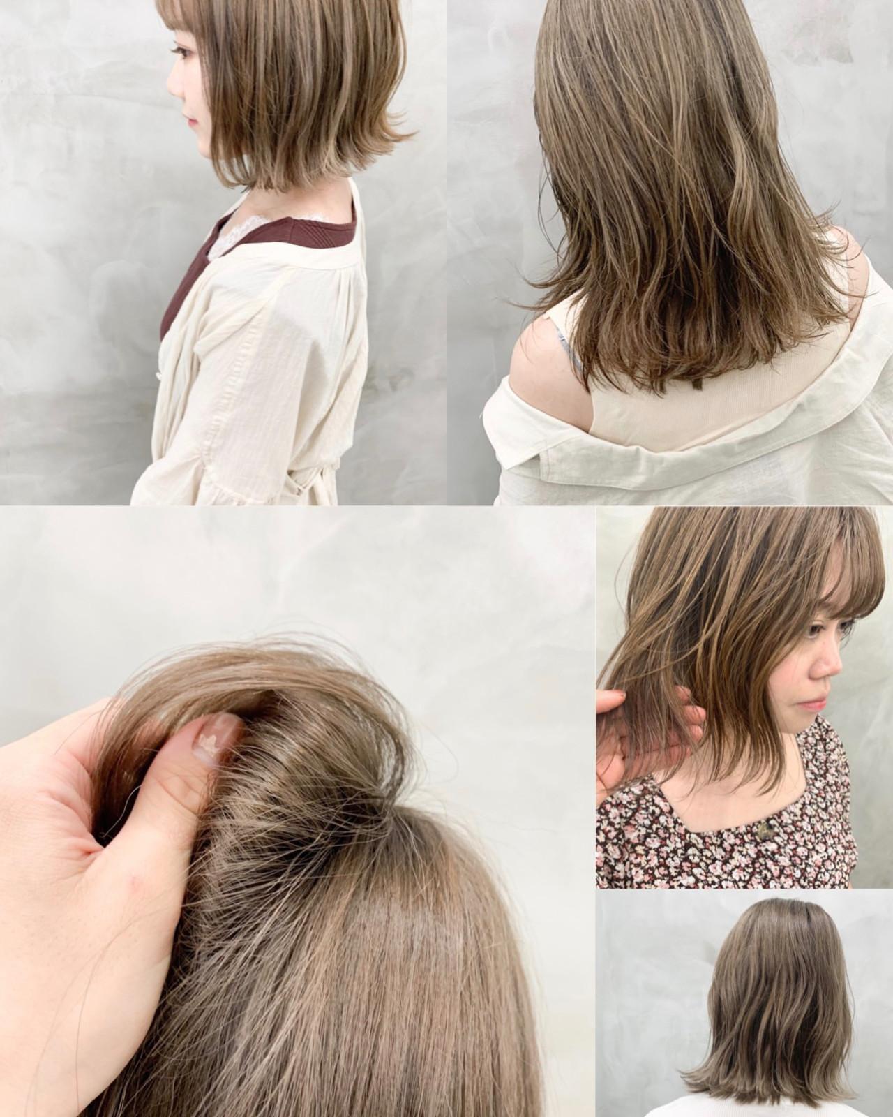 ボブ ブリーチ ミルクティーベージュ ベージュ ヘアスタイルや髪型の写真・画像