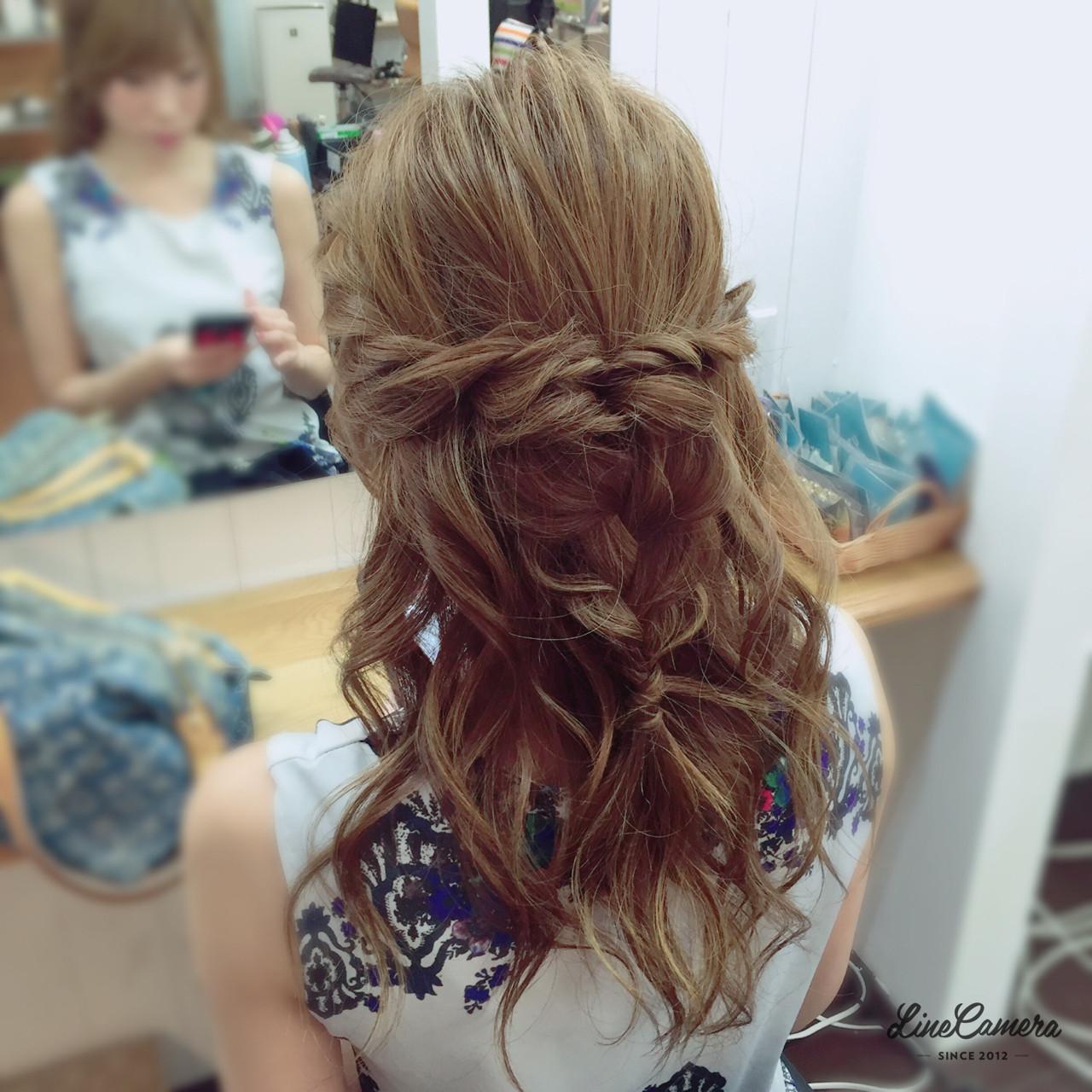 大人女子 編み込み 大人かわいい ハーフアップ ヘアスタイルや髪型の写真・画像